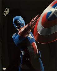 Stan Lee Marvel Comics Signed 16x20 Captain America Shield Throw Photo JSA