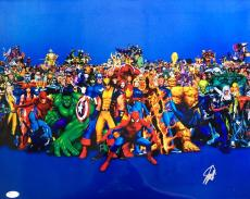 Stan Lee Marvel Comics Signed 16x20 Characters Photo JSA WP222259