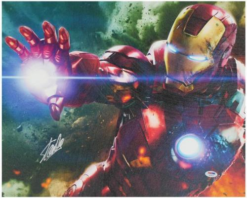 Stan Lee Marvel Comics Signed 16X20 Iron Man Canvas PSA/DNA #W18513