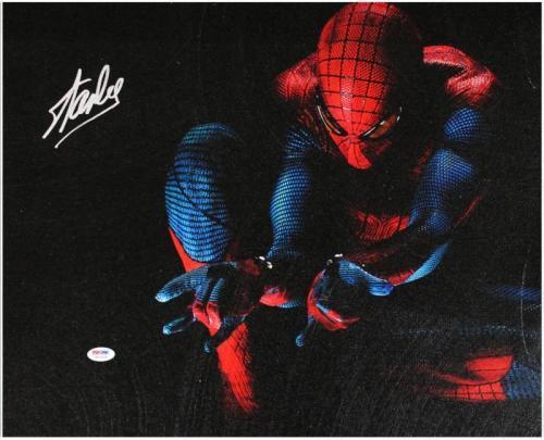 Stan Lee Marvel Comics Signed 16X20 Spider-Man Canvas PSA/DNA #6A20994