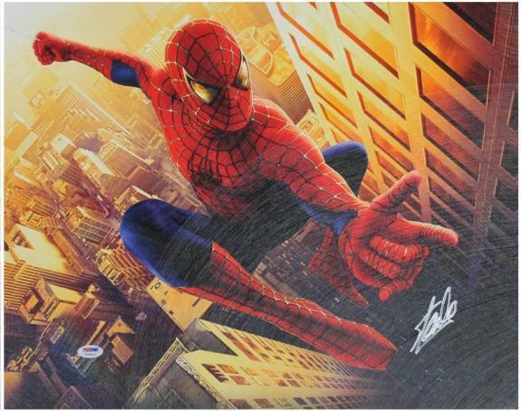 Stan Lee Marvel Comics Signed 16X20 Spider-Man Canvas PSA/DNA #W18523