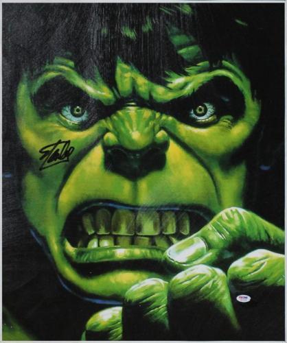 Stan Lee Marvel Comics Signed 20X24 The Hulk Canvas PSA/DNA #6A20988