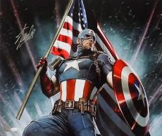 Stan Lee Marvel Comics Signed 22x24 Captain America Canvas JSA
