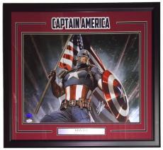 Stan Lee Marvel Comics Signed Framed 16x20 Captain America Flag Photo JSA+Lee