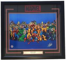 Stan Lee Marvel Comics Signed Framed 16x20 Characters Photo Lee Holo