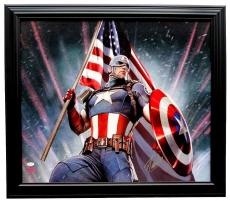 Stan Lee Marvel Comics Signed & Framed 28x24 Captain America Canvas JSA+Lee Holo