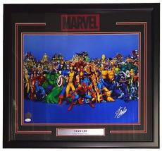 Stan Lee Marvel Comics Signed Framed Characters 16x20 Photo JSA + Stan Lee Holo
