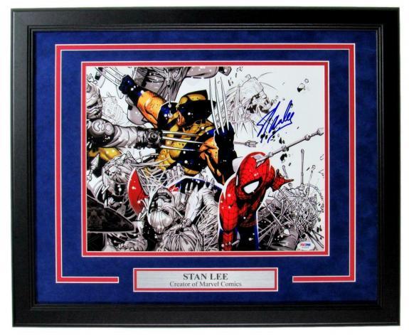Stan Lee Marvel Comics Signed/Autographed 11x14 Photo Framed PSA/DNA 149230