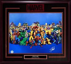 Stan Lee Marvel signed 16x20 chrome photo Hulk Spider-man framed auto holo coa