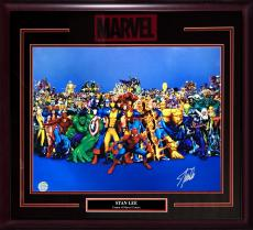 Stan Lee Marvel signed 16x20 chrome photo Hulk Spider-man framed auto holo coa