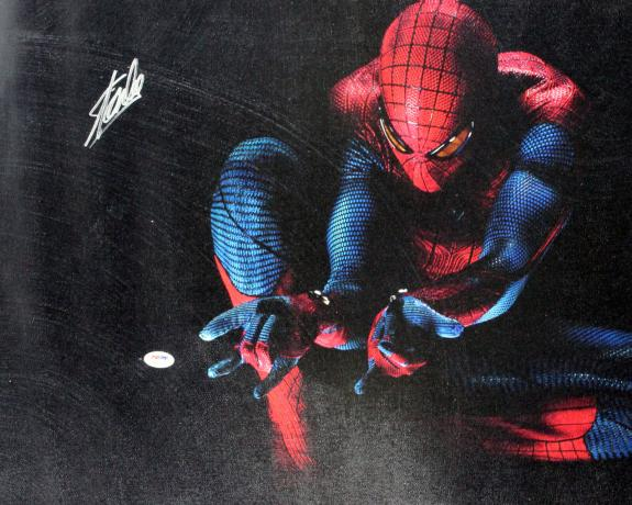 Stan Lee Marvel Signed 16x20 Spider-Man Canvas Autographed PSA #W18509