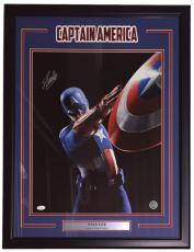 Stan Lee Marvel Signed Framed 16x20 Captain America Shield Throw Photo JSA+Lee