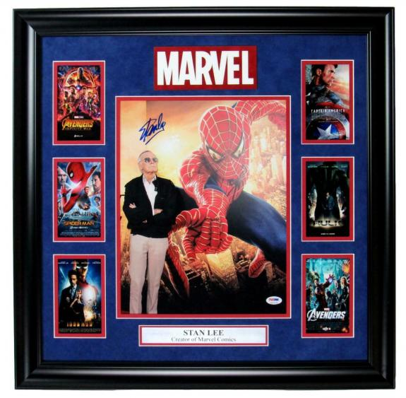 Stan Lee Signed 11x14 Spiderman Comics Photo Collage Framed PSA/DNA 149282