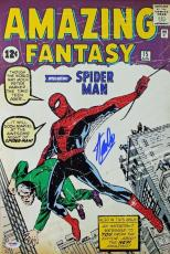 Stan Lee Signed 12X18 Photo Of Amazing Fantasy 15 Comic Spider-Man PSA/DNA