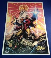 Stan Lee signed 13x19 Iron Man Comikaze Exclusive Poster PSA/DNA Cert # X08470