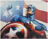 Stan Lee Signed 16X20 Captain America Canvas PSA/DNA #W18533