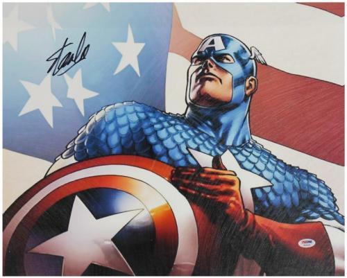 Stan Lee Signed 16X20 Captain America Canvas PSA/DNA #W18533