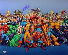 Stan Lee Signed 16X20 Marvel Comics Cast Metallic Blue Photo PSA/DNA