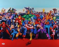 Stan Lee Signed 16X20 Marvel Comics Cast Metallic Red Photo PSA/DNA
