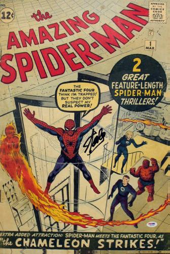 Stan Lee Signed 16X24 Amazing Spider-Man #1 Comic Canvas BAS #6A20987