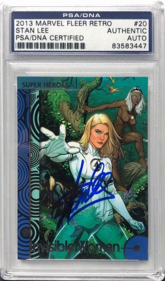 Stan Lee Signed 2013 'Invisible Woman' Marvel Fleer Retro Card PSA 83583447