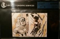Stan Lee Signed 2014 UD Marvel Premier AUTO Captain America Sketch Card JSA BGS