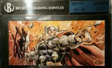 Stan Lee Signed 2014 UD Marvel Premier AUTO Thor 3 Panel Sketch Card JSA BGS