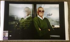 Stan Lee Signed 20x30 Canvas Print Marvel Spider-Man Hulk JSA Coa