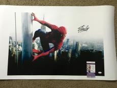 Stan Lee Signed 20x30 Canvas Print Spider-Man JSA Coa