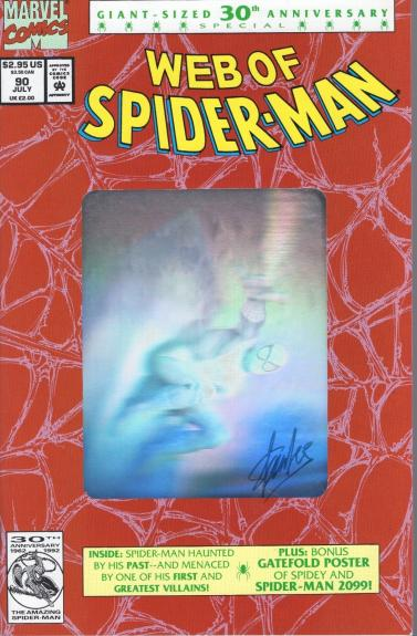 STAN LEE SIGNED 30th ANNIVERSARY SPIDER-MAN COMIC BOOK   RED HOLOGRAM COVER  JSA