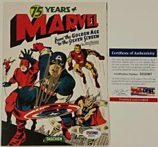 STAN LEE Signed 75 Years of Marvel Mini Fold Booklet/Poster AUTO w/ PSA/DNA COA