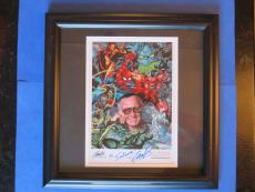 STAN LEE SIGNED 8x10 COLOR PHOTO (14x14 FRAMED) AUTOGRAPH ~ JSA CERT ~ SPIDERMAN