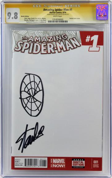 Stan Lee Signed Amazing Spider-Man #1 Comic w/ Hand Drawn Sketch Graded 9.8! CGC