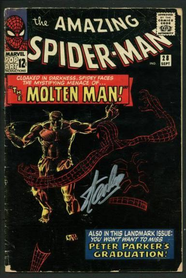 Stan Lee Signed Amazing Spider-Man #28 Comic Book 1St Molten Man! PSA #V07967