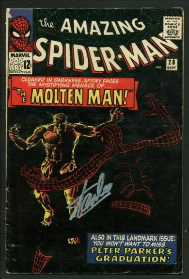 Stan Lee Signed Amazing Spider-Man #28 Comic Book 1St Molten Man! PSA #V07969