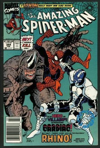 Stan Lee Signed Amazing Spider-Man #344 Comic Book Cardiac/Rhino PSA/DNA #W18774