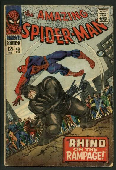 Stan Lee Signed Amazing Spider-Man #43 Comic Book Rhino On Rampage PSA #W18616