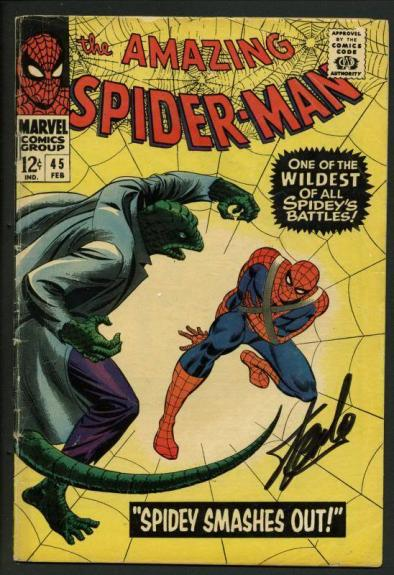 Stan Lee Signed Amazing Spider-Man #45 Comic Book The Lizard PSA/DNA #W18755