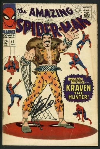 Stan Lee Signed Amazing Spider-Man #47 Comic Book Kraven The Hunter PSA #W18614