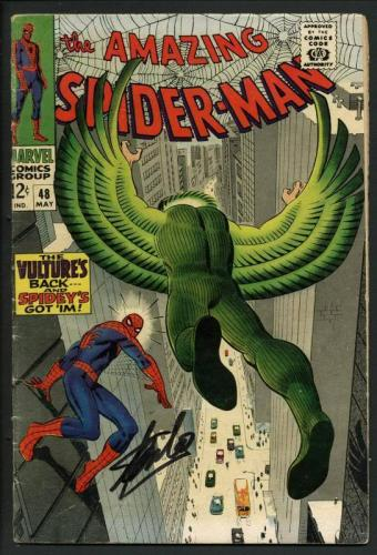 Stan Lee Signed Amazing Spider-Man #48 Comic Book The Vulture'S Back PSA #W18666