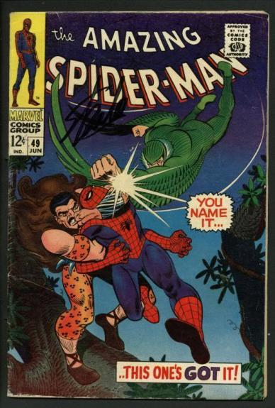 Stan Lee Signed Amazing Spider-Man #49 Comic Book Kraven/Vulture PSA/DNA #W18624