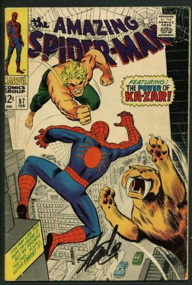 Stan Lee Signed Amazing Spider-Man #57 Comic Book Ka-Zar PSA/DNA #W18669