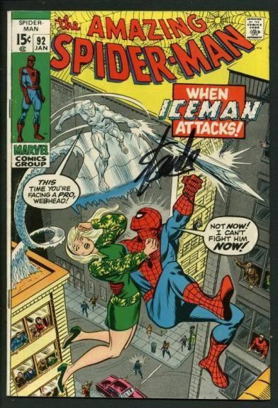 Stan Lee Signed Amazing Spider-Man #92 Comic Bookwhen Iceman Attacks PSA #W18600