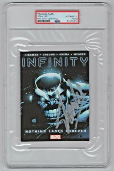 Stan Lee Signed Auto Infinity Thanos #1 Marvel Comic 4x6 Promo Card PSA/DNA