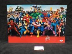 Stan Lee Signed Autograph Marvel Cast Chrome Metallic 12x18 Photo Psa/dna X05398