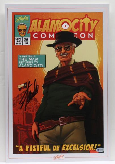 Stan Lee Signed Autograph Marvel Comics 12x18 Print Excelsior Beckett Bas F10337