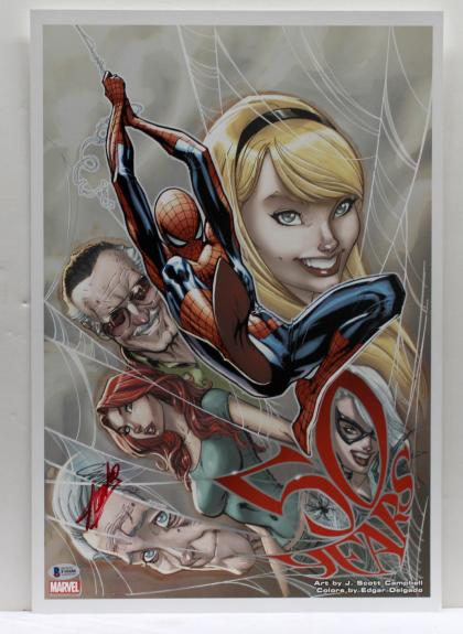 Stan Lee Signed Autograph Marvel Comics 13x19 Print 50 Years Beckett Bas F10486