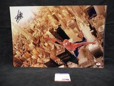 Stan Lee Signed Autograph Spiderman  Chrome Metallic 13x20 Photo Psa/dna X05463