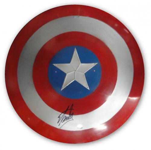 "Stan Lee Signed Autographed 28"" Round Huge Metal Captain America Shield SL Holo"