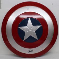 Stan Lee Signed Autographed Captain America Shield Marvel Comics Psa/dna Ac32427